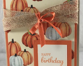 Happy Birthday, Autumn, Fall, Pumpkins, Burlap, card, stampin up