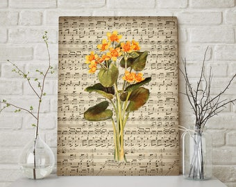 Marigold Flower Sheet Music Art Print