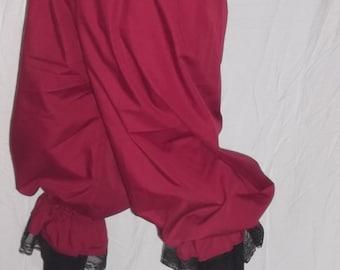 Plus burgundy pantaloons with black lace