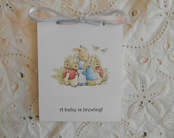 Baby Shower - Tea Bag Favors - Peter Rabbit and Family
