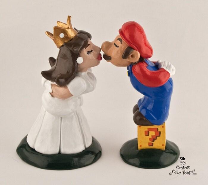 Mario and Peach Wedding Cake Topper - Prince and Princess