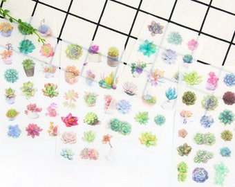 6sheets, Succulent stickers, Plant sticker, Filofax, Planner Sticker, kawaii stationary, Scrapbook Sticker, Sticker set