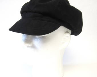 Black Newsboy Cap Twiggy Hat