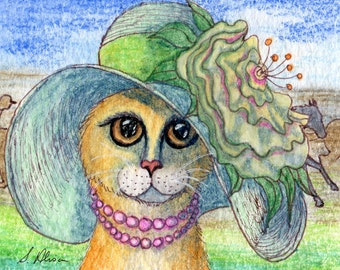 Ginger cat in hat 8x10 signed print
