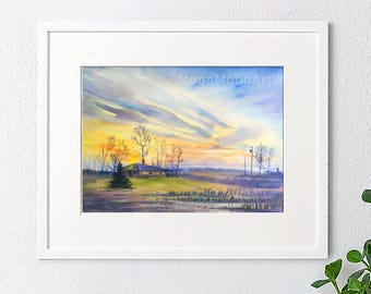 Original watercolor painting, Landscape painting, watercolor landscape, handmade, sunset painting, house gift, wall art, home decor