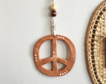 Peace Sign Terracotta Clay Wall Hanging