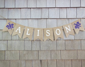 Custom Name Banner, Personalized name banner, Girl Butterfly Nursery name bunting, Baby Burlap Banner, Butterfly Shower Decor Burlap Garland
