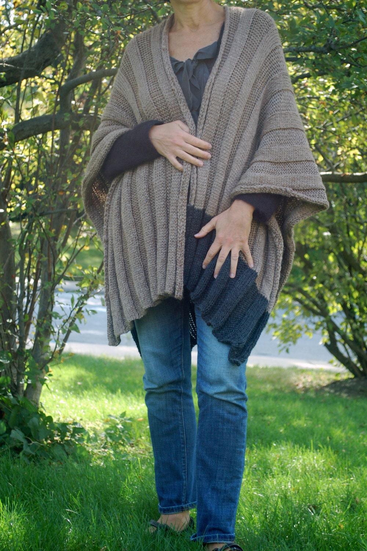 Easy to knit Wrap Easy to knit Ruana Poncho knitting