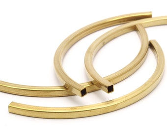Brass Noodle Tube, 12 Square Curved Raw Brass Tubes (4x4x95) Bs 1529
