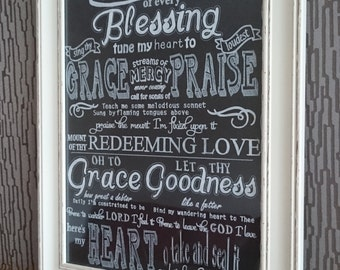Come Thou Font of every blessing - Chalkboard Hymn Lyrics -  Hand Drawn - Christian Gift - Home Decor
