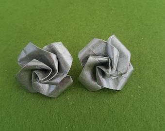 Silver rose stud earrings, silver rose earrings, silver stud earrings UK, rose stud earrings, rose studs, paper rose jewelry, Paper earrings