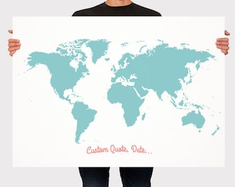Large world map etsy wedding guest book world map custom color add quote date signage gumiabroncs Image collections