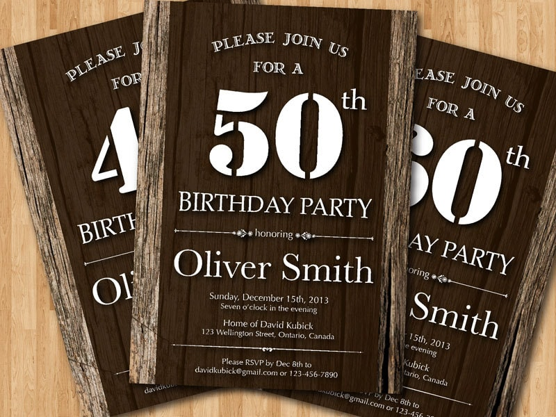 50th Adult Birthday Invitation wood texture. Western