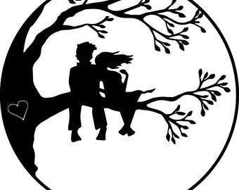 "Couple in Tree Within a Circle 3.75"" tall"