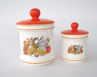 Vintage Harvest-Themed Ceramic Canisters, Set of 2