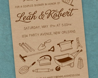Printable Digital File - Couples Shower Kraft Paper Invitation - Honey Do - Customizable - Tools, Garden, Gadgets, Kitchen, Wedding, Co-Ed
