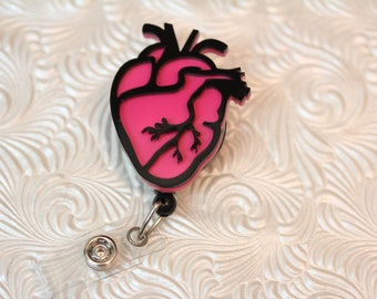 3d  cardiac heart - professional nursing badge holder - retractable - badge reel - badge clip - name badge holder - nurse jewelry