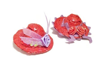 Mini Straw Red Hat Lapel Pin Or Ornament