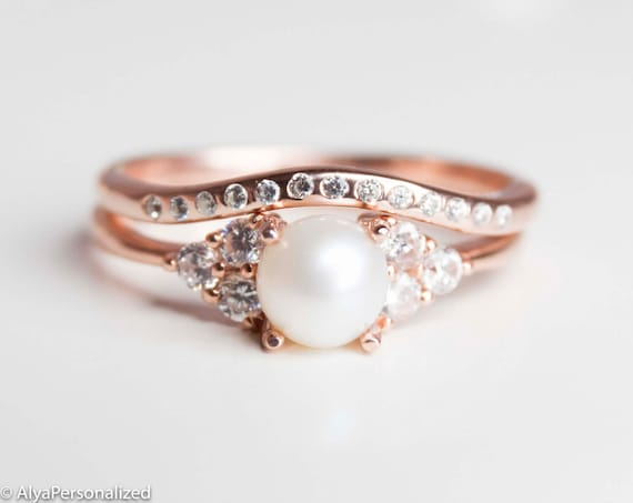 Charming Rose Gold Wedding Ring Set Engagement Ring Set Vintage