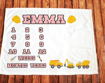 Construction girl/monthly/milestone/minky blanket/truck/custom print/personalize/kid/baby/baby shower gift/unique baby gift/new baby gift
