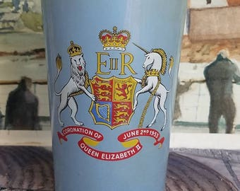 "Vintage ""Coronation of Queen Elizabeth 'll 1953 Glass Cup"