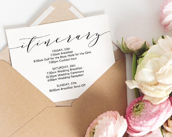 "Wedding Itinerary Card, Printable Itinerary Card, Events Card | ""Wedding"" 