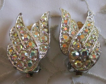 Vintage Sarah Coventry Winged Clip On Earrings with Opalescent Faceted Rhinestones