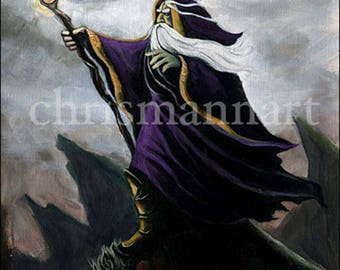 Mann Art MERLIN THE WIZARD Original Published Painting on Paper