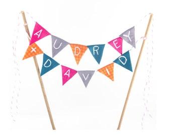 Bunting Name Cake Banner - bunting cake topper with initials - banner with custom names cake topper - bunting flag initials topper