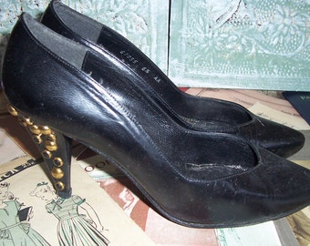 Vintage Black Leather Shoes with Brass Studs and Jeweled Heels