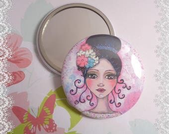 """Mirror 56 mm """"Precious"""", illustrated by one of my creations"""