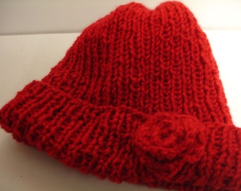 Red knitted hat with a crocheted flower - ready to ship