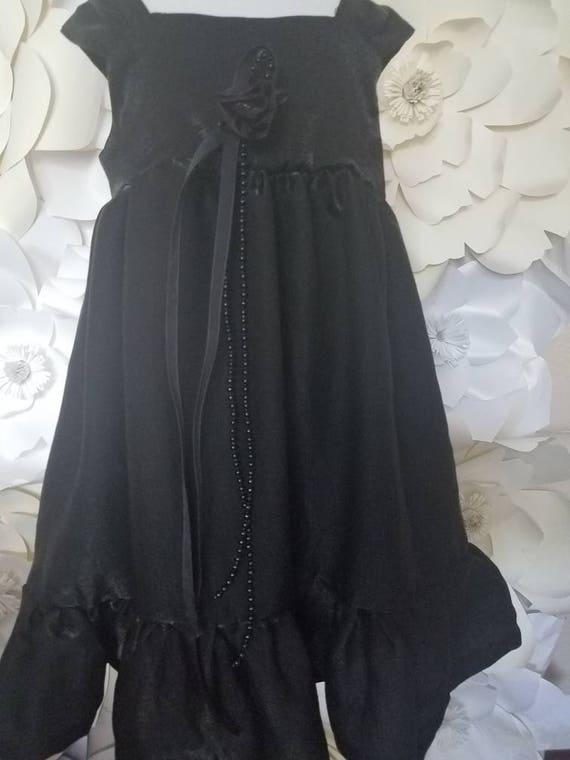 Black Beach Dress, Matching Dress, Baby Matching Dress, Mom and Me, Lolita Black Dress, Little Black Dress, Tea Length Dress, Bohemian Baby