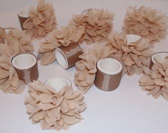 Flower Chiffon Napkin Rings Set of 10