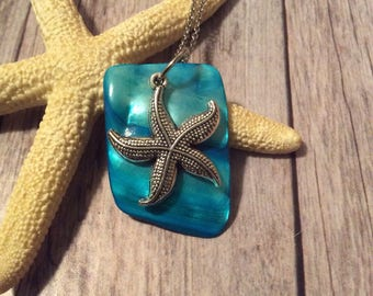 Blue Mother of Pearl Shell With Starfish Necklace