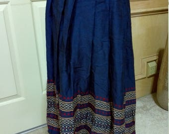 Vintage 30s Mexican Skirt,Handwoven blue Wool Skirt,Embroidered Skirt,Stunning Ethnic Folk Art/Peasant Skirt with Hand-stitched detail/XS/S