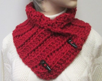 Red Chunky Scarf, Winter Chunky Scarf, Fall Womans Scarves, Warm Crochet Scarves, Red Knit Scarf, Chunky Crochet Scarves, Fabiana B1-012