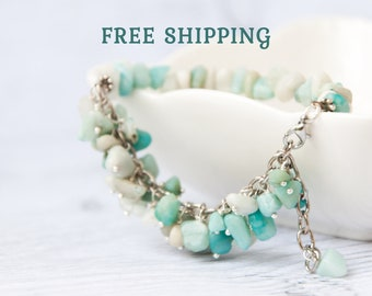 Amazonite jewelry - Multi colored bracelet / Amazonite bracelet / Mint green beaded bracelet / Mothers day gift from son