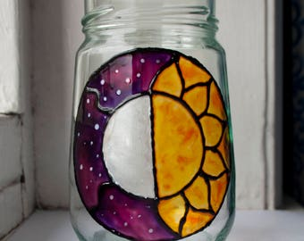 Hand Painted Half Sun and Full Moon Glass Votive Candle Holder