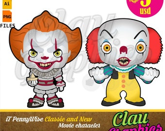 iT Pennywise Classic and New Movie Clown cartoons, SVG patterns collection and Clipart, papercraft projects and more