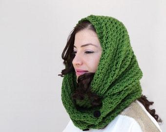 Green Knitting Cowl - Green Knitting Scarf - Dark Green Circle Scarf, ready to ship