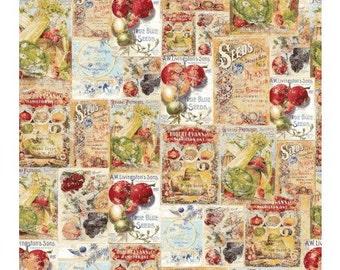 Vintage Seedpackets Fabric by Clothworks by the Yard/Half-Yard Y1660-55