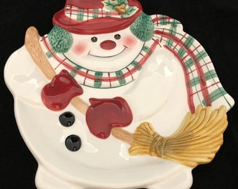 Fitz and Floyd Plaid Christmas Snowman Wall / Canape / Cookie Plate