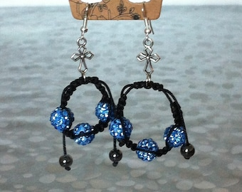 shamballa earrings blue and Silver 925 beads to adjust size according to your desires.