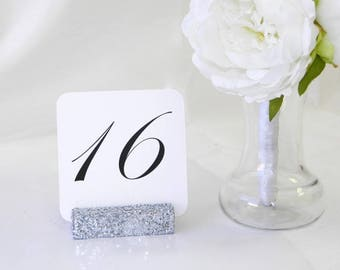 Silver Table Number Holder Silver Glitter Table Card Holders (Set of 10)