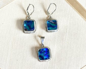 SALE Vintage 90s Dichroic Glass and Sterling Demi Parure Earrings and Pendant with Blue Dichroic Glass Set in Sterling