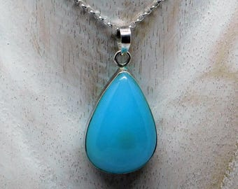 Sterling silver Blue Chalcedony pendant necklace