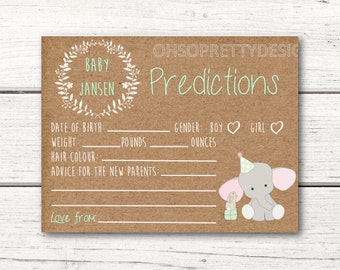 Personalized Baby Predictions Card - Baby Shower - Elephant Rustic Kraft paper Design - Gender Neutral - Printable Download DESIGN 006