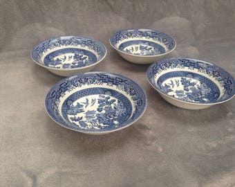 Churchill willow pattern bowls - set of four