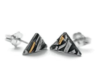 Silver and Gold Triangle Stud Earrings, Silver Stud Earrings, Triangle Earrings, Geometric Earrings, Minimalist Earrings, Everyday Earrings
